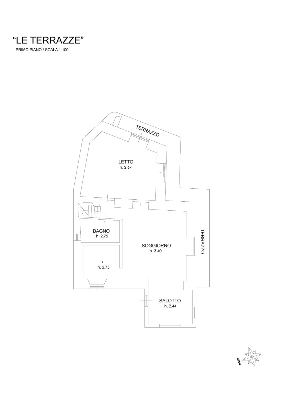 Le Terrazze. Plan of the apartment. First floor.